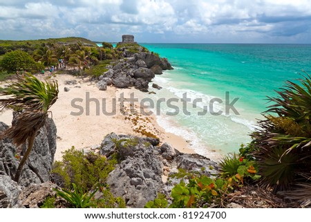 Perfect beach at lost city of Tulum - Mexico - stock photo