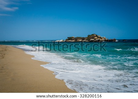 Perfect beach in Tayrona National Park, protected area in the caribbean region of Colombia