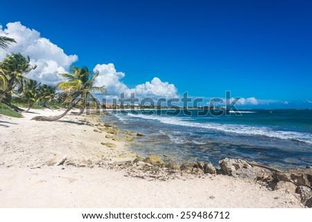 Perfect beach near Tulum, traveling through Quintana Roo. Caribbean paradise. - stock photo