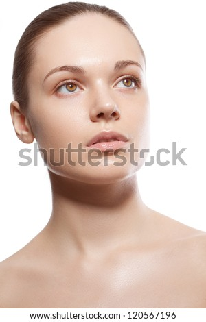 perfect beauty woman closeup portrait over white - stock photo