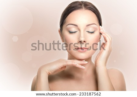 Perfect beauty woman closeup portrait with closed eyes on the styled pastel background. Natural make-up - stock photo