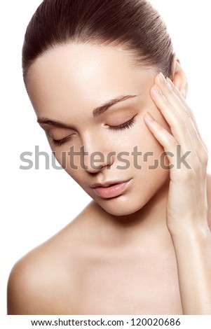 perfect beauty woman closeup portrait with closed eyes over white - stock photo