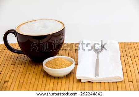 Perfect big brown homemade cup of hot and delicious latte - stock photo
