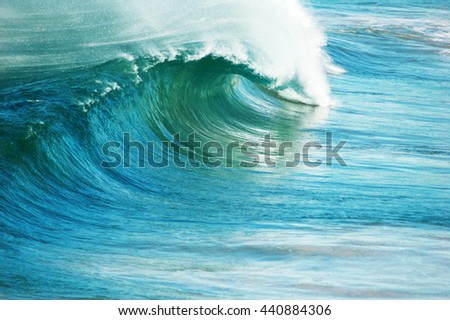 Perfect blue ocean surfing wave. - stock photo
