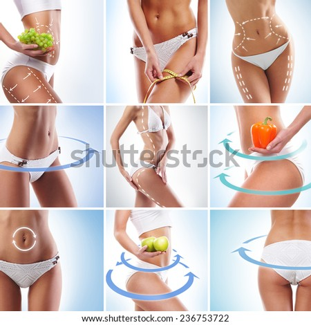 Perfect body with arrows on it. Dieting, sport, fitness and healthy eating collage. - stock photo
