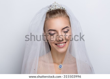 Perfect Bride. Dreams. Desire. Beautiful beauty, pretty. smiling, happy, professional photo, portrait, photo model face, pink lips, closed eyes, enjoyment delight, pleasure. Lady girl female super new - stock photo