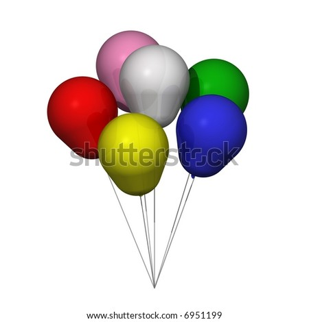 Perfect bunch of balloons isolated on white - stock photo