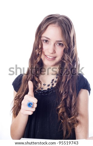 Perfect business woman showing OK hand sign smiling happy - stock photo