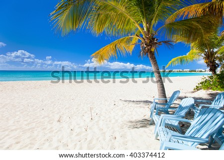 Perfect Caribbean beach on Anguilla island - stock photo