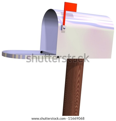 Perfect chrome mailbox open, isolated on white - stock photo