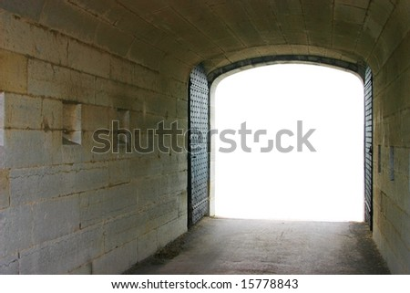 Perfect dark tunnel background with isolated space - stock photo