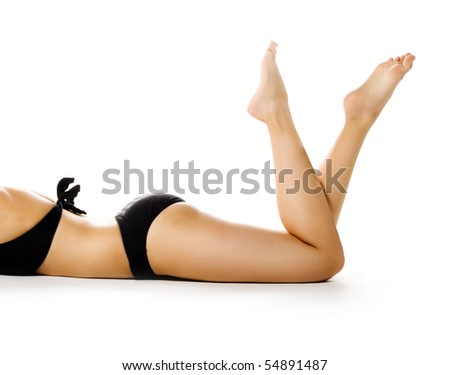 Perfect female legs isolated on white background - stock photo