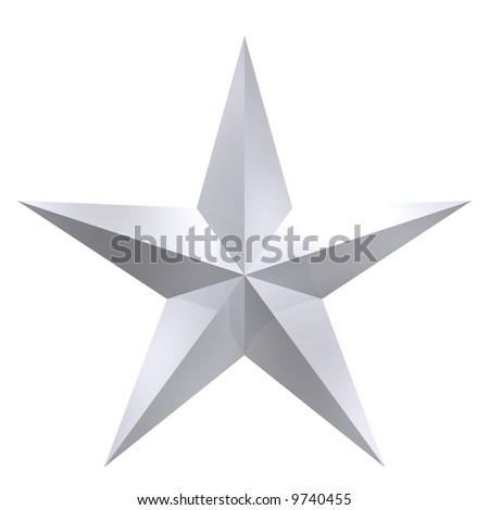 Perfect five pointed silver star isolated on white - stock photo