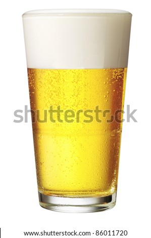 Perfect glass of beer with clipping path - stock photo