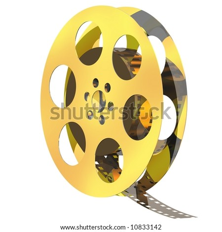 Perfect golden movie reel isolated on white - stock photo