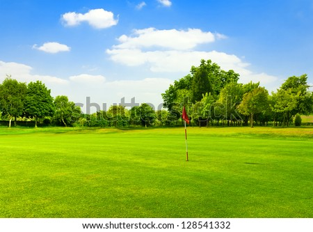 Perfect Green grass on a golf field - stock photo