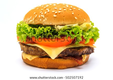 Perfect hamburger classic burger american cheeseburger with cheese, bacon, tomato and lettuce isolated on a white background.