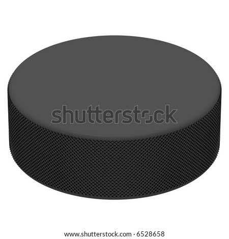 Perfect hockey puck isolated on white - stock photo