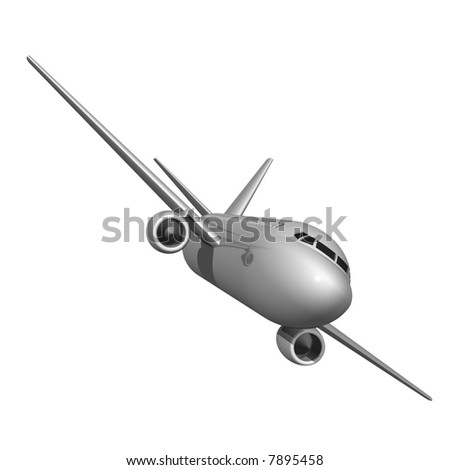 Perfect jet airliner isolated on white - stock photo