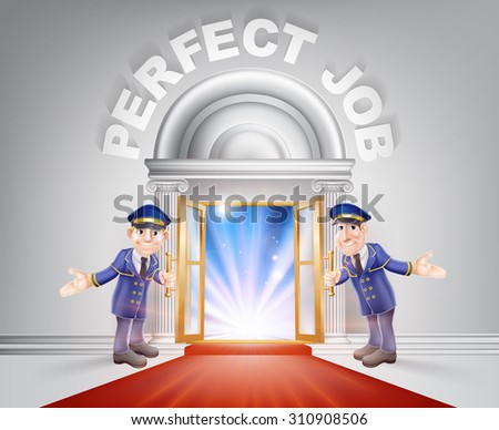 Perfect Job Door concept of a doormen holding open a red carpet entrance to the perfect job with light streaming through it. - stock photo