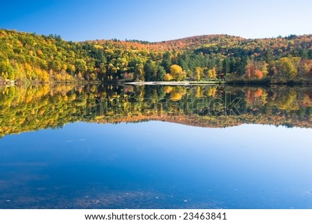 Perfect lake scenery on a bright autumn day