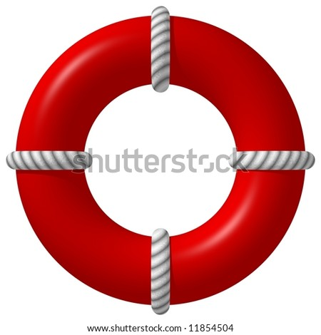 Perfect life preserver isolated on white - stock photo