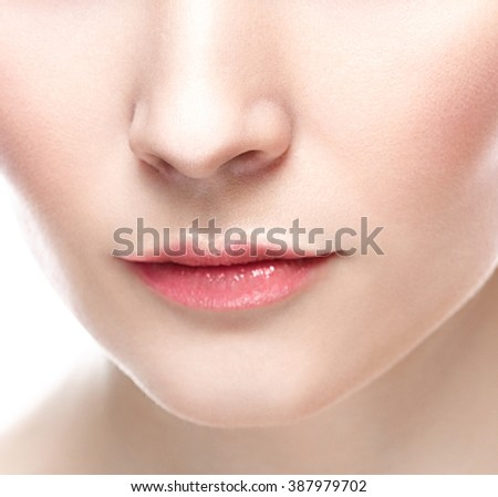 Perfect Lips. Sexy Girl Mouth close up. Beauty young woman Smile. Natural plump full Lip. Lips augmentation. Close up detail  - stock photo