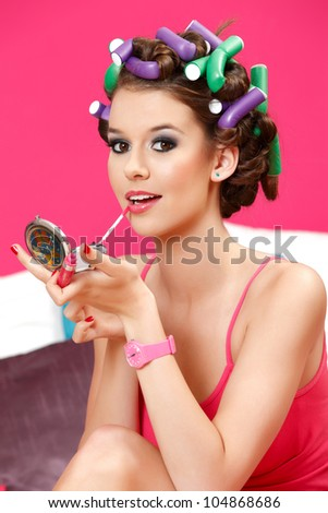 perfect make up for the party is ready - stock photo