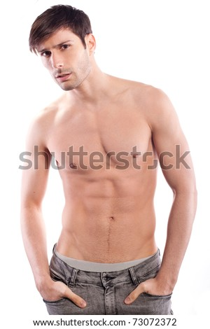 Perfect male half naked in  jeans posing - stock photo