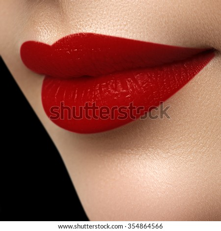 Perfect mat lips. Sexy girl mouth close up. Beauty young woman smile. Red plump full Lips. Lips augmentation. Close up detail. Bright full lips. - stock photo