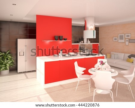 Perfect modern kitchen with functional furniture, 3d rendering.