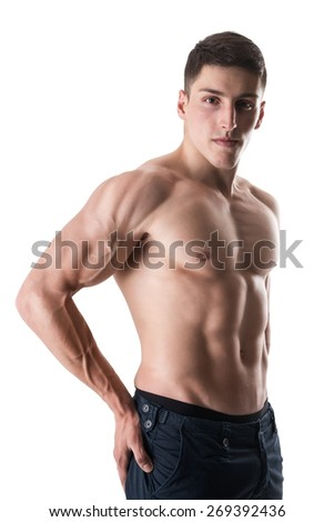 Perfect Muscular male body on white-Sport and health body of man. - stock photo