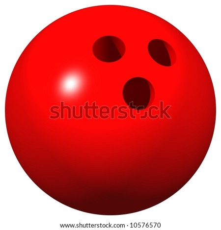 Perfect 10 pin bowling ball isolated on white - stock photo