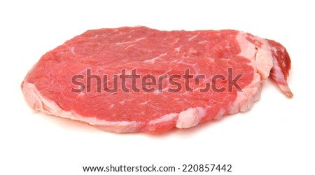 Perfect Raw Beef Shoulder Steak isolated on white background
