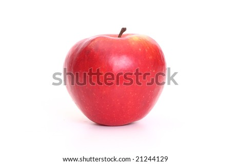 Perfect red apple isolated on white