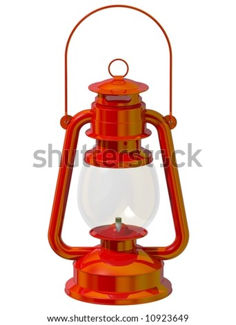 Perfect red lantern isolated on white - stock photo