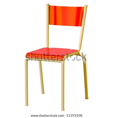 Perfect red plastic chair isolated on white - stock photo