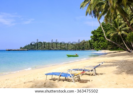 Perfect sandy beach in Thailande : deck chairs on the water edge with palm trees on the background.