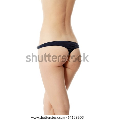 Perfect shape of woman's buttocks - studio shot isolated on white - stock photo