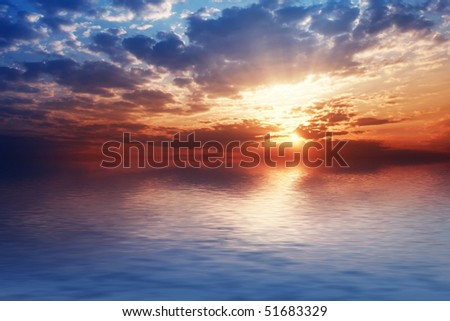 Perfect sky reflection over sea. - stock photo