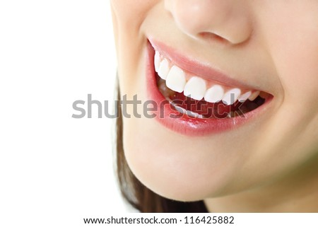 perfect smile with healthy tooth of cheerful teen girl isolated on white background - stock photo