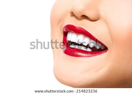 Perfect smile with white healthy teeth and red lips, dental care concept - stock photo