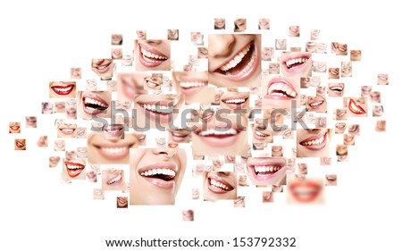 Perfect smiles collage. Collection of beautiful wide human smiles with great healthy white teeth. Isolated over white background  - stock photo