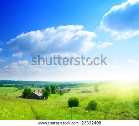 perfect summer day in russian village - stock photo