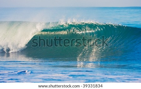 Perfect Surfing Wave Breaking in Ocean - stock photo