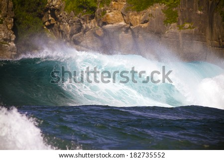 perfect surfing wave in Indonesia.Sumbawa island.