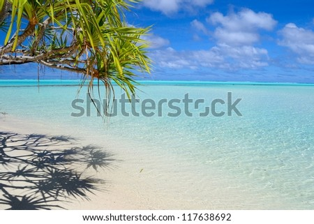 Perfect tropical beach in the middle of Pacific, Cook Islands, Aitutaki Atoll (One Foot Island) - stock photo
