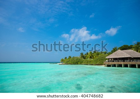 Perfect tropical island paradise beach Maldives