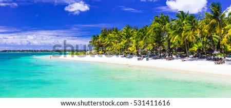 Perfect tropical white sandy beach with turquoise sea. Mauritius island