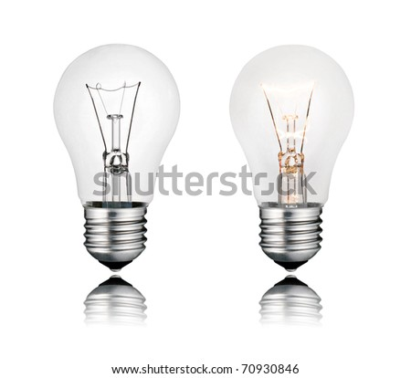 Perfect Two Lightbulbs On and Off with Reflection Isolated on White Background - stock photo